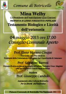 Mina Welby a Botricello il 4 maggio 2013 per discutere di eutanasia legale e testamento biologico