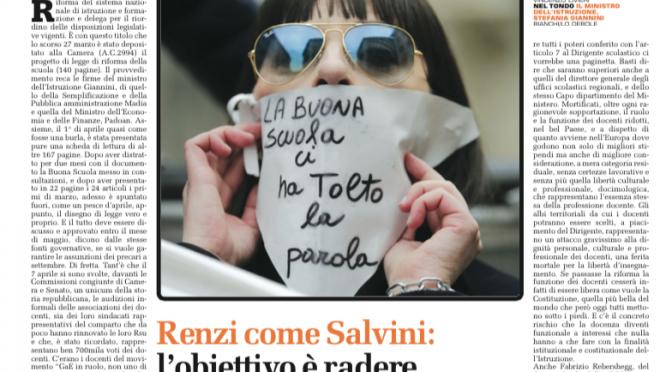#Renzi come #Salvini, #LaBuonaScuola rade al suolo #scuola e #diritti
