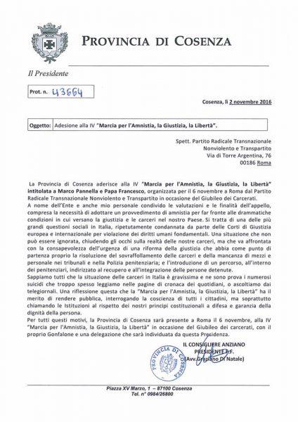 Lettera di adesione alla marcia per l'amnistia intitolata a Marco Pannella e a Papa Francesco del Presidente della Provincia di Cosenza, Graziano Di Natale