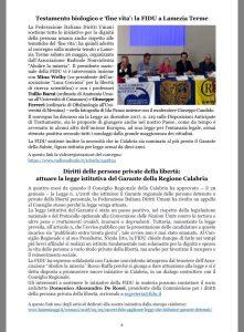 La FIDU si associa alla richiesta di nominare i garanti dei detenuti e della salute in Calabria.