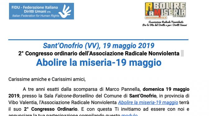 2° Congresso ordinario associazione radicale nonviolenta